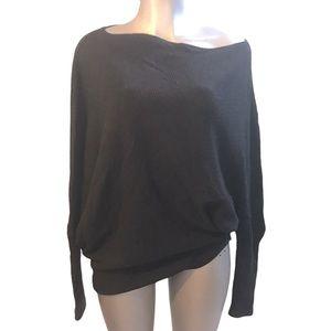 Easel LA Knit Sweater Asymmetrical Black Oversized